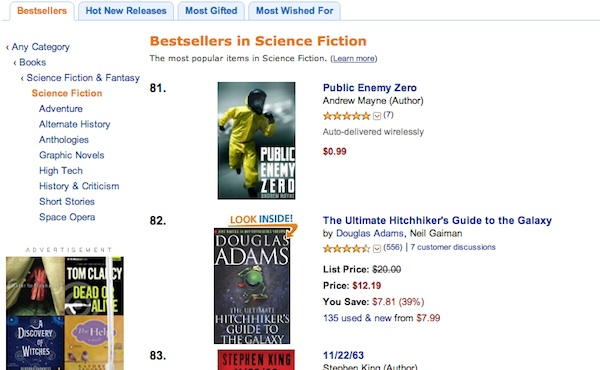 Public Enemy Zero on Amazon top 100