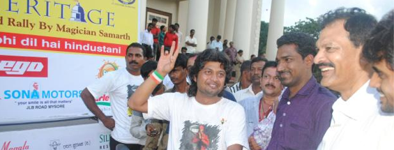 The Hindu _ Cities _ Mangalore _ Blindfolded magician reaches Mangalore on his scooter.png